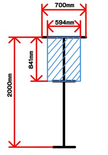 PO.SU.TAの大きさとポスターの設置図